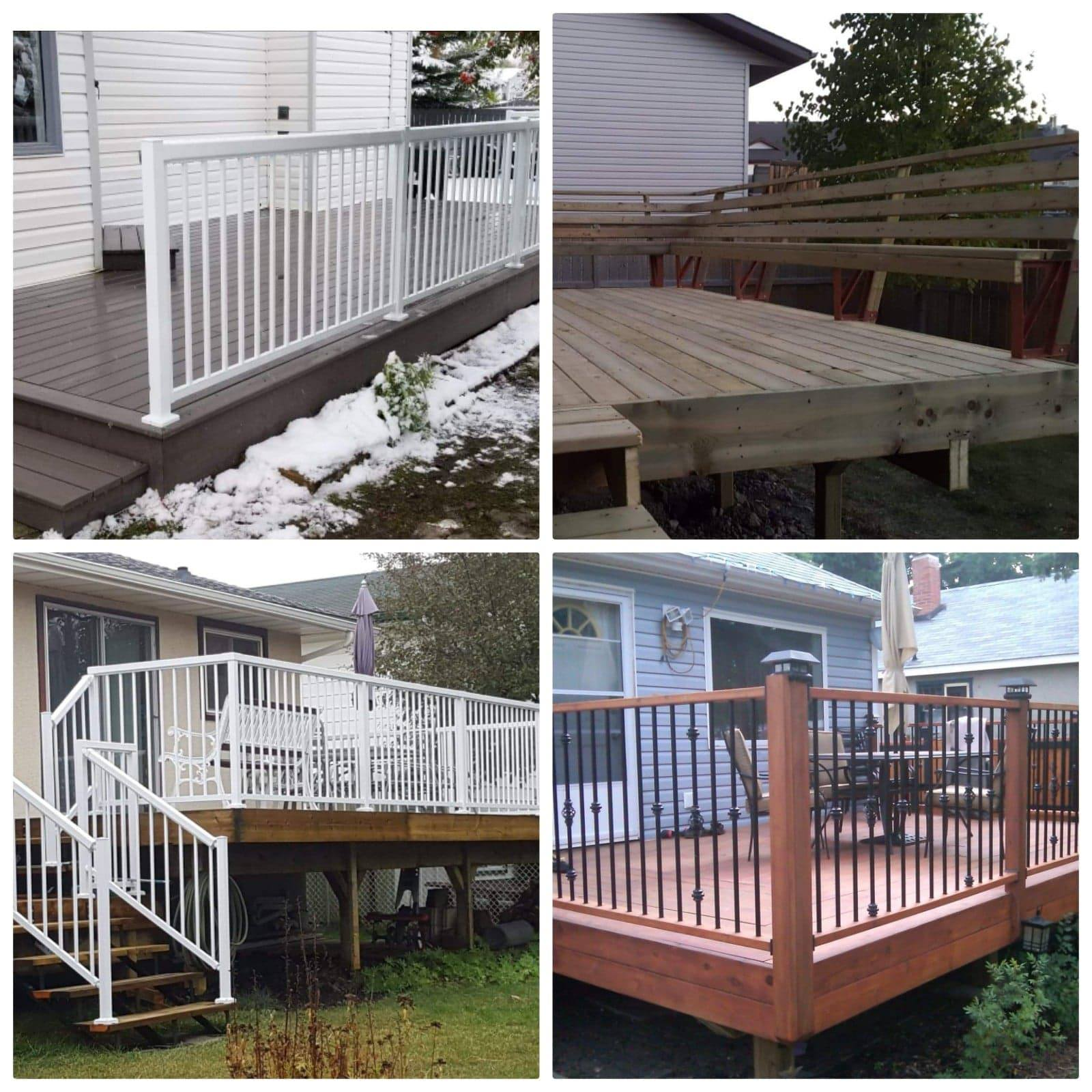 wooden deck and fence red deer