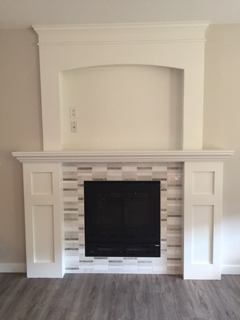 wooden white fireplace red deer
