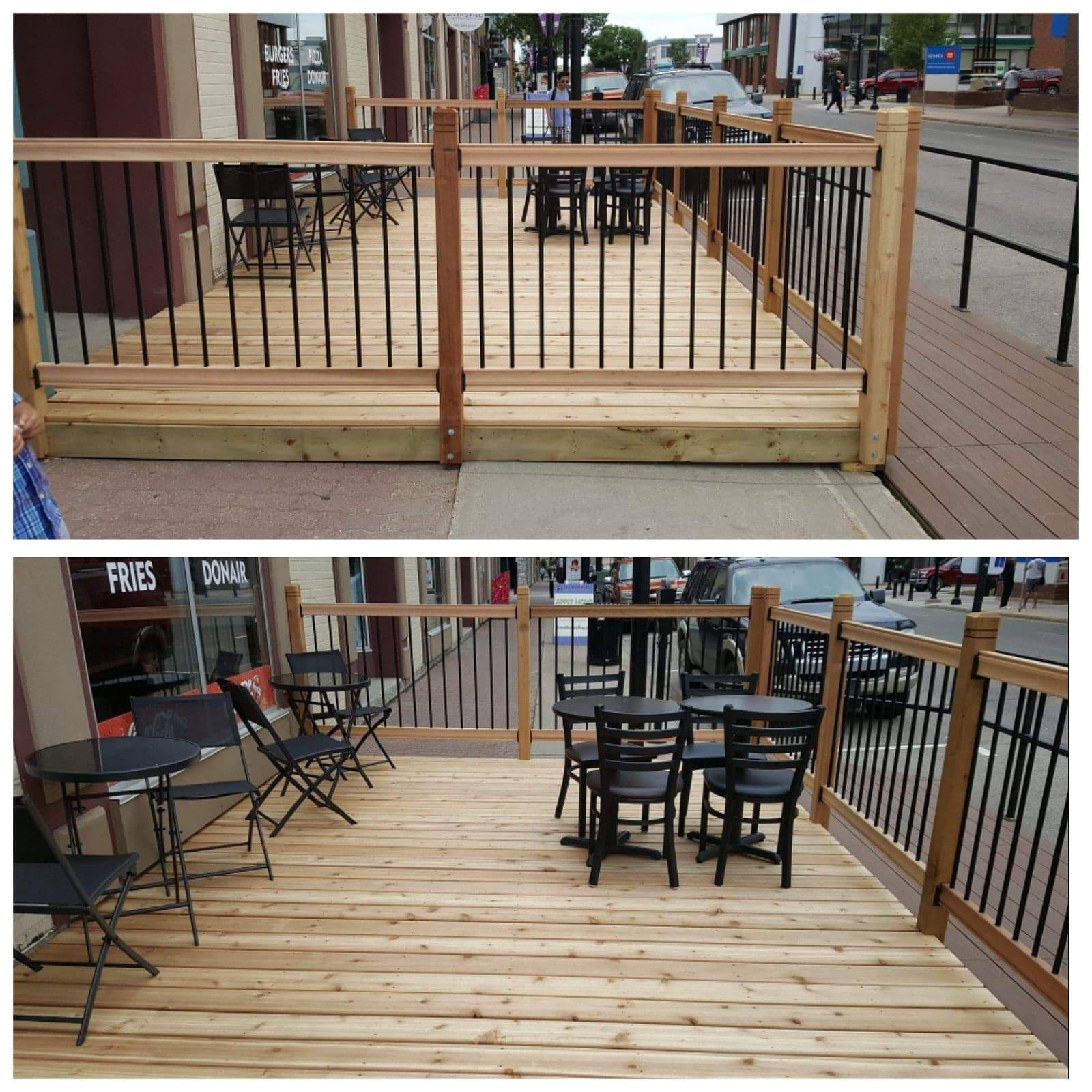 commercial wood patio in lacombe